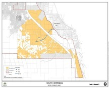 Map of Herriman assessment area on the west side of the city. Those who own property in colored area will be accessed a levy tax to pay for a proposed water line and pump to a water tank. (Courtesy Herriman)
