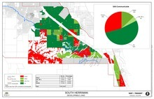 Map of Herriman assessment area on the west side of the city. The legend shows those who own property and protest or approve being accessed a levy tax to pay for a proposed water line and pump to a water tank. (Courtesy Herriman)