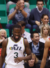 Trent Nelson  |  The Salt Lake Tribune Utah Jazz's Demarre Carroll (3) reacts after a basket as the Utah Jazz host the Portland Trailblazers in preseason NBA basketball Thursday October 25, 2012 at EnergySolutions Arena in Salt Lake City, Utah.