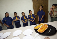 Mike Terry | Special to the Tribune  Cub Scouts from Pack 4183 of the Volta Samoan Ward sing cheers before being awarded pizza at a meetinghouse of The Church of Jesus Christ of Latter-day Saints in West Valley City, Utah, on Thursday, Oct. 11, 2012.  The Scouts were learning how to make quick meals from simple grocery items.
