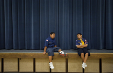 Mike Terry | Special to the Tribune  Cub Scouts Dylan Leatutufu and Desmond Tautaiolefue from Pack 4183 of the Volta Samoan Ward sit on the stage after running laps in the gym  at a meetinghouse of The Church of Jesus Christ of Latter-day Saints in West Valley City, Utah on Thursday, Oct. 11, 2012.  The Scouts were learning how to make quick meals from simple grocery items.