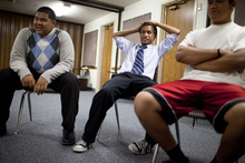 Mike Terry | Special to the Tribune  (From left) Jordan Tutasi, Mason Fu'e and Tala Losi have a laugh during a meeting of young men who belong to the Volta Samoan Ward at a meetinghouse of The Church of Jesus Christ of Latter-day Saints in West Valley City, Utah, on Thursday, Oct. 11, 2012.