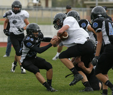 Rick Egan  | The Salt Lake Tribune   The Stansbury high football team practices on their home field,  Monday, October 22, 2012. Stansbury High is one of the few unbeaten teams left in the state entering the playoffs.