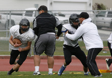Rick Egan    The Salt Lake Tribune   The Stansbury high football team practices on their home field,  Monday, October 22, 2012. Stansbury High is one of the few unbeaten teams left in the state entering the playoffs.