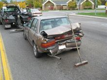 A license plate impression on this vehicle's bumper, and a photo snapped by a witness of a hit-and-run suspect's car, led to an arrest in Provo. (Provo Police Department photo).