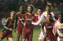 Steve Griffin   The Salt Lake Tribune Kyle Beckerman and his Real Salt Lake teammates push into the box as they wait for a corner kick during a CONCACAF match against  C.S. Herediano at Rio Tinto Stadium in Sandy on Oct. 23, 2012.