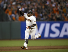 San Francisco Giants' Pablo Sandoval rounds the bases after hitting his second home run against the Detroit Tigers during Game 1 of baseball's World Series, Wednesday, Oct. 24, 2012, in San Francisco. (AP Photo/The Sacramento Bee, Paul Kitagaki Jr.) MAGS OUT; TV OUT (KCRA3, KXTV10, KOVR13, KUVS19, KMAZ31, KTXL40) MANDATORY CREDIT
