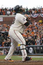 San Francisco Giants' Pablo Sandoval reacts after hitting a home run in the first inning of Game 1 of baseball's World Series against the Detroit Tigers Wednesday, Oct. 24, 2012, in San Francisco. (AP Photo/Marcio Jose Sanchez)