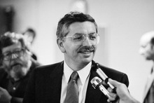 FILE - In this Nov. 15, 1983, file photo, newly appointed NBA Commissioner David Stern speaks to reporters in the Madison Square Garden media room prior to a basketball game between the New York Knicks and Indiana Pacers in New York. Stern officially took office on Feb. 1, 1984. He announced during a news conference Thursday, Oct. 25, 2012, that he will retire on Feb. 1, 2014, 30 years after he took charge of the league. He will be replaced by Deputy Commissioner Adam Silver. (AP Photo/Mario Suriani, File)