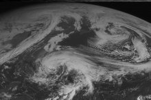 This NOAA satellite image taken Friday, October 26, 2012 at 10:45 AM EDT shows Hurricane Sandy east of southern Florida moving north with maximum sustained winds of 80 mph. A cold front tracks across the eastern United States with areas of rain showers. (AP PHOTO/WEATHER UNDERGROUND)