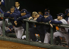The Detroit Tigers watch during the eighth inning of Game 2 of baseball's World Series against the San Francisco Giants Thursday, Oct. 25, 2012, in San Francisco. (AP Photo/Jeff Chiu)