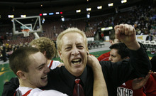 Scott Sommerforf | The Salt Lake Tribune Former West High coach Bob Lyman is shown celebrating with his team after their 4A championship win in 2009. Lyman has filed a federal lawsuit against the Salt Lake City School District, alleging it failed to inform him of his rights under the Family Medical Leave Act when he needed time off for a heart condition.