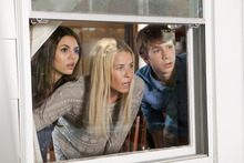 This film image released by Paramount Pictures shows, from left, Victoria Justice as Wren, Chelsea Handler as Joy and Thomas Mann as Roosevelt in a scene from