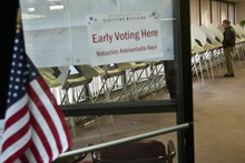 Chris Detrick  |  The Salt Lake Tribune Residents vote early at the Salt Lake County Government Center on Tuesday. Early voting runs through Nov. 2.