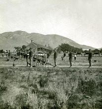 After the transcontinental railroad was finished in 1869, troops such as these from Fort Douglas could quickly be transported to conflicts in the West. Four companies from the fort, 150 years old this week, joined in the fighting after the defeats of generals Custer and Crook. Photo courtesy of Fort Douglas Museum.