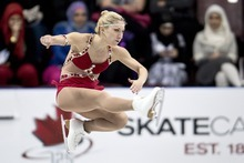 Canada's Amelie Lacoste performs her short program in the ladies competition at the Skate Canada International figure skating event, Friday, Oct. 26, 2012, in Windsor, Ontario. (AP Photo/The Canadian Press, Paul Chiasson)