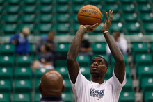 Trent Nelson  |  The Salt Lake Tribune Utah Jazz forward Marvin Williams (2) warms up as the Utah Jazz prepare to host the Portland Trailblazers in preseason NBA basketball Thursday October 25, 2012 at EnergySolutions Arena in Salt Lake City, Utah.