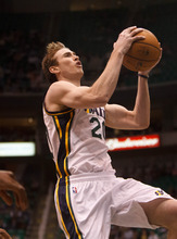 Trent Nelson  |  The Salt Lake Tribune Utah Jazz forward Gordon Hayward (20) shoots the ball as the Utah Jazz host the Portland Trailblazers in preseason NBA basketball Thursday October 25, 2012 at EnergySolutions Arena in Salt Lake City, Utah.