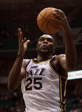 Trent Nelson  |  The Salt Lake Tribune Utah Jazz center/forward Al Jefferson grabs a rebound as the Utah Jazz host the Portland Trailblazers in preseason NBA basketball on Oct. 25, 2012 at EnergySolutions Arena in Salt Lake City. It is unknown if Jefferson and seven other players with expiring contracts on the Jazz roster will return in 2013-14 or whether the Jazz will opt for the cap space and build around young players.