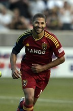 Kim Raff | The Salt Lake Tribune Real Salt Lake player Alvaro Saborio celebrates scoring a hat trick against the Portland Timbers at Rio Tinto Stadium in Sandy, Utah on July 7, 2012.  Real went on to win the game 3-0. Saborio scored his third goal on a penalty kick.