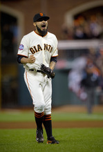 San Francisco Giants relief pitcher Sergio Romo celebrates after the last out by the Detroit Tigers during Game 2 of baseball's World Series, Thursday, Oct. 25, 2012, in San Francisco. The Giants won 2-0. (AP Photo/The Sacramento Bee, Jose Luis Villegas) MAGS OUT; TV OUT (KCRA3, KXTV10, KOVR13, KUVS19, KMAZ31, KTXL40) MANDATORY CREDIT