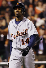 Detroit Tigers' Austin Jackson reacts after striking out during the ninth inning of Game 2 of baseball's World Series against the San Francisco Giants Thursday, Oct. 25, 2012, in San Francisco. The Giants won 2-0 to take a 2-0 lead in the series. (AP Photo/David J. Phillip)
