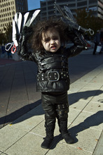 Chris Detrick     The Salt Lake Tribune Gabriel Ruiz, 2, of Salt Lake City, poses for a portrait dressed as Edward Scissorhands during the Monster Block Party at the Gallivan Center Saturday October 27, 2012. Ruiz won first place in the costume contest for kids under 11 years old. ]