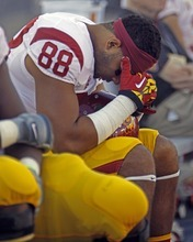 Southern California's Jalen Cope-Fitzpatrick reacts during the second half of an NCAA college football game against Arizona at Arizona Stadium in Tucson, Ariz., Sat., Oct. 27, 2012. Arizona won 39-36. (AP Photo/Wily Low)