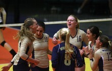 Kim Raff | The Salt Lake Tribune Snow Canyon celebrates winning a set against Judge Memorial during the 3A state volleyball quarterfinal at the UCCU Center at Utah Valley University in Orem, Utah on October 26, 2012. Snow Canyon went on to win the match.