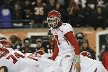 Utah quarterback Travis Wilson calls signals during the second half of their NCAA college football game against Oregon State in Corvallis, Ore., Saturday, Oct. 20, 2012. (AP Photo/Don Ryan)