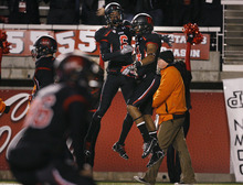Scott Sommerdorf  |  The Salt Lake Tribune               Utah Utes wide receiver Dres Anderson (6) celebrates with Utah Utes wide receiver Reggie Dunn (14) after Dunn's 100 yard kickoff return for aTD. Utah led Cal 28-6 at the half, Saturday, October 27, 2012.