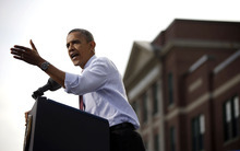 President Barack Obama speaks to supporters at a campaign event at Elm Street Middle School, Saturday, Oct. 27, 2012 in Nashua, N.H. (AP Photo/Pablo Martinez Monsivais)