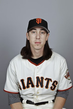 This is a 2012 photo of Tim Lincecum of the San Francisco Giants baseball team. This image reflects the San Francisco Giants active roster as of Thursday, March 1, 2012 when this image was taken.  (AP Photo/Morry Gash)