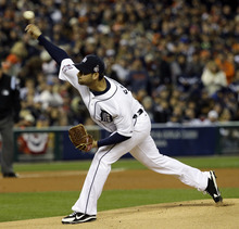 Detroit Tigers starting pitcher Anibal Sanchez throws during the first inning of Game 3 of baseball's World Series against the San Francisco Giants Saturday, Oct. 27, 2012, in Detroit. (AP Photo/David J. Phillip)