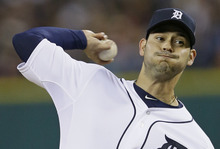 Detroit Tigers' Anibal Sanchez throws during the first inning of Game 3 of baseball's World Series against the San Francisco Giants Saturday, Oct. 27, 2012, in Detroit. (AP Photo/Matt Slocum)