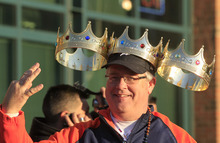 Robert Vermeulen shows off his triple crown as he arrives at Comerica Park  before Game 3 of baseball's World Series between the Detroit Tigers and the San Francisco Giants Saturday, Oct. 27, 2012, in Detroit. (AP Photo/Carlos Osorio)