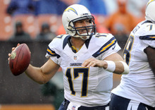 As rain falls, San Diego Chargers quarterback Philip Rivers rolls out to pass in the third quarter of an NFL football game against the Cleveland Browns, Sunday, Oct. 28, 2012, in Cleveland. (AP Photo/Phil Long)