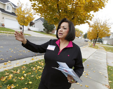 Al Hartmann  |  The Salt Lake Tribune  Josie Valdez, who's running for Utah Senate District 8, walks a neighborhood to meet her constituents in the district, which includes most of Cottonwood Heights, Midvale and Murray.