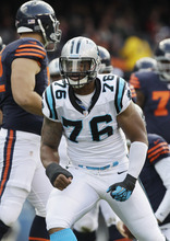 Carolina Panthers defensive end Greg Hardy (76) reacts after sacking Chicago Bears quarterback Jay Cutler in the first half of an NFL football game in Chicago, Sunday, Oct. 28, 2012. (AP Photo/Nam Y. Huh)