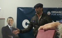 Actor Jon Hamm gives a pep talk to volunteers at Obama For America headquarters in Grand Junction, Colo., over the weekend. (Photo courtesy of Mallory Bateman)