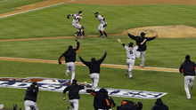 San Francisco Giants celebrate after winning Game 4 of baseball's World Series against the Detroit Tigers Sunday, Oct. 28, 2012, in Detroit. The Giants won 4-3 to win the series. (AP Photo/Paul Sancya )